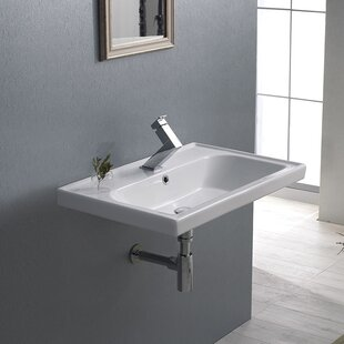 Bargain Frame Ceramic Rectangular Drop-In Bathroom Sink with Overflow By CeraStyle by Nameeks