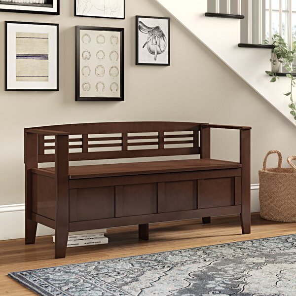 Glossop Wood Flip Top Storage Bench by Three Posts