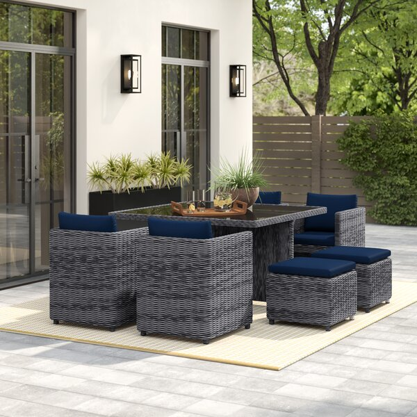 Keiran 9 Piece Outdoor Patio Dining Set With Sunbrella Cushions By Brayden Studio