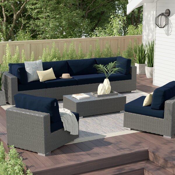 Tripp 7 Piece Sunbrella Sectional Seating Group with Cushions Brayden Studio BRSU4059
