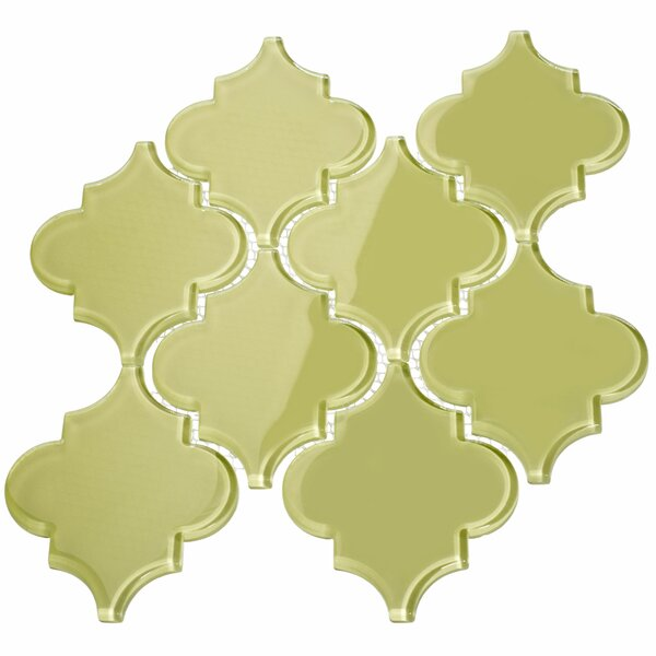 Water Jet 3.9 x 4.7 Glass Mosaic Tile in Light Olive by Giorbello