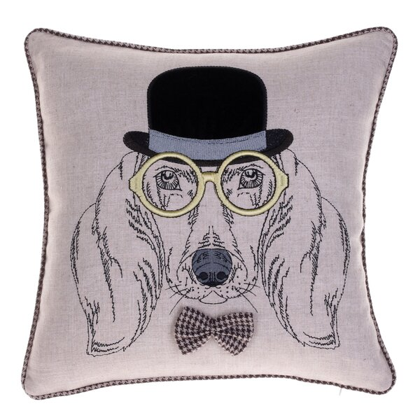 Distinguished Dog Pillow Sherlock Harris Throw Pillow by 14 Karat Home Inc.