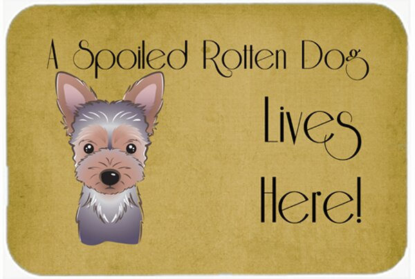 Yorkie Puppy Spoiled Dog Lives Here Kitchen/Bath Mat by Caroline's Treasures