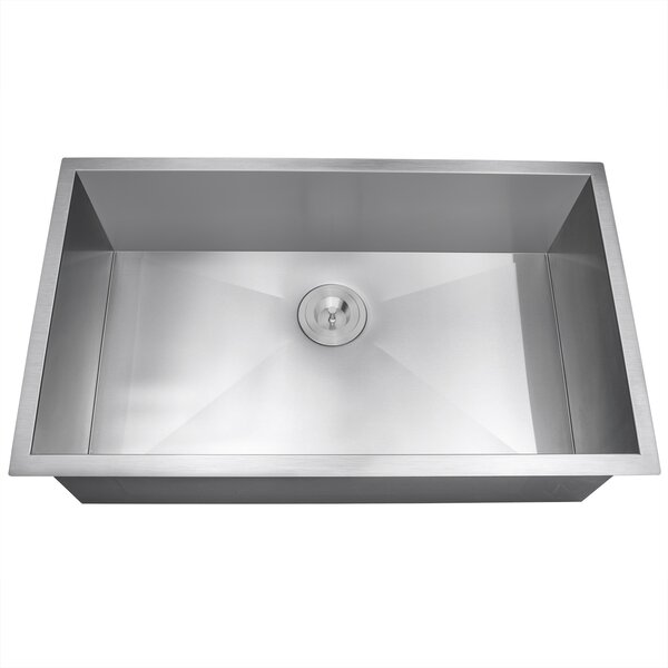 33 x 22 Undermount Stainless Steel Single Bowl Kitchen Sink w/ Dish Grid and Drain Strainer Kit by AKDY