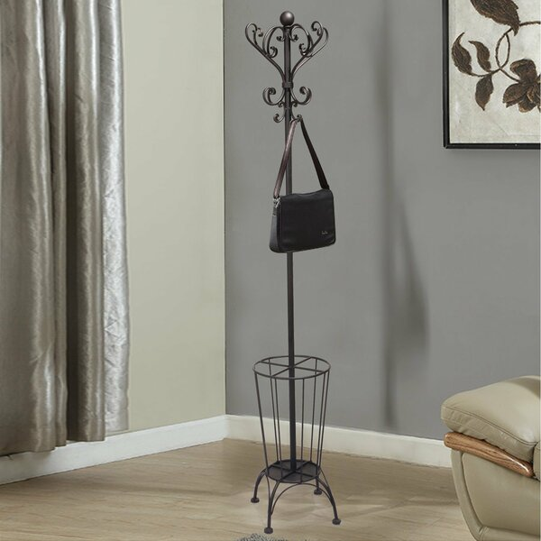 Iron Coat Hanging Rack with Umbrella Stand and Storage by Adeco Trading