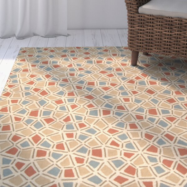 Atilia Red/Blue Geometric Area Rug by Highland Dunes