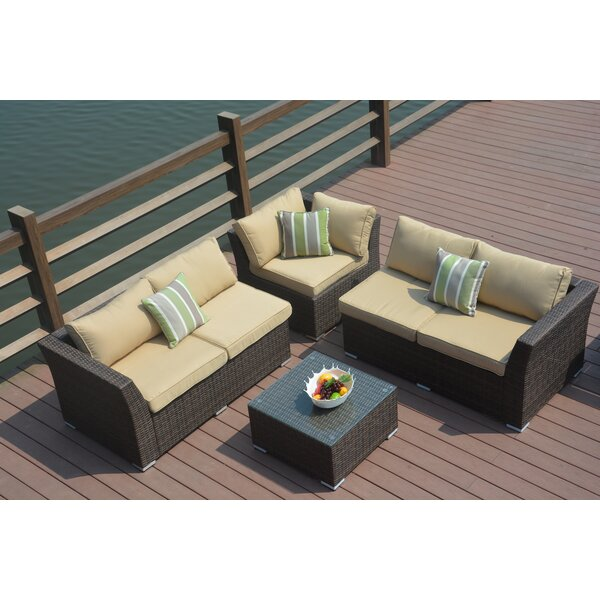 Kartik 4 Piece Sectional Set with Cushions by Bayou Breeze