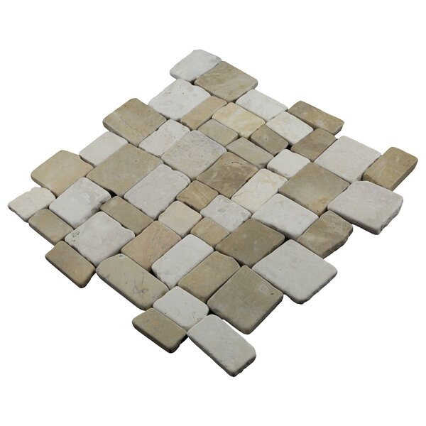 Blocks 12 x 12 Natural Stone Pebbles Tile in Tan/White by Pebble Tile