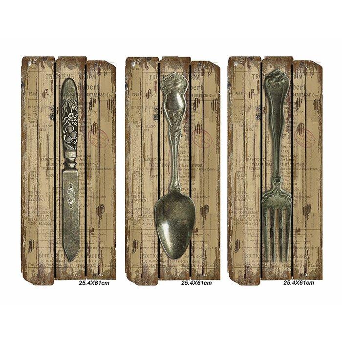 3 Piece Fork Spoon Knife Wall Décor Set