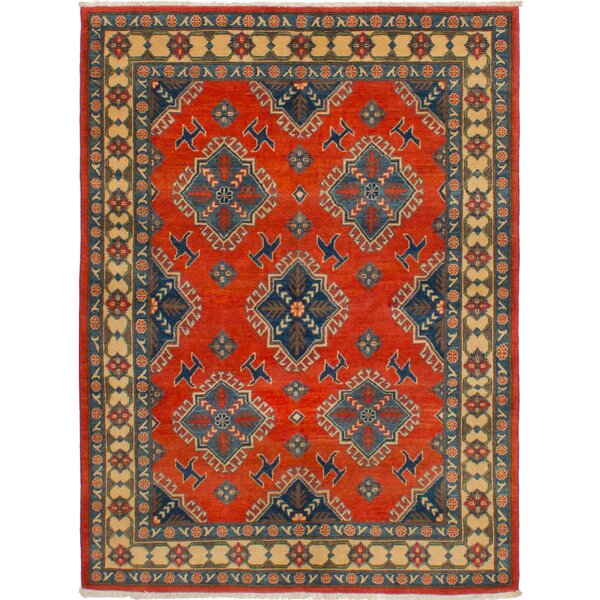 One-of-a-Kind Noriko Hand-Knotted Wool Red/Blue Area Rug by Isabelline