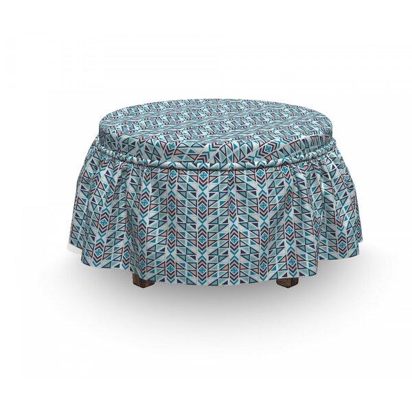 Geometric Triangle Arrow 2 Piece Box Cushion Ottoman Slipcover Set By East Urban Home