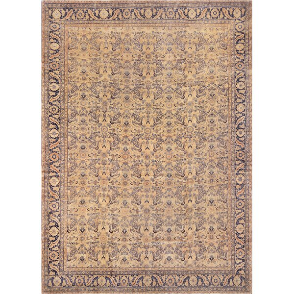 One-of-a-Kind Antique Tabriz Handwoven Wool Golden Beige Indoor Area Rug by Mansour
