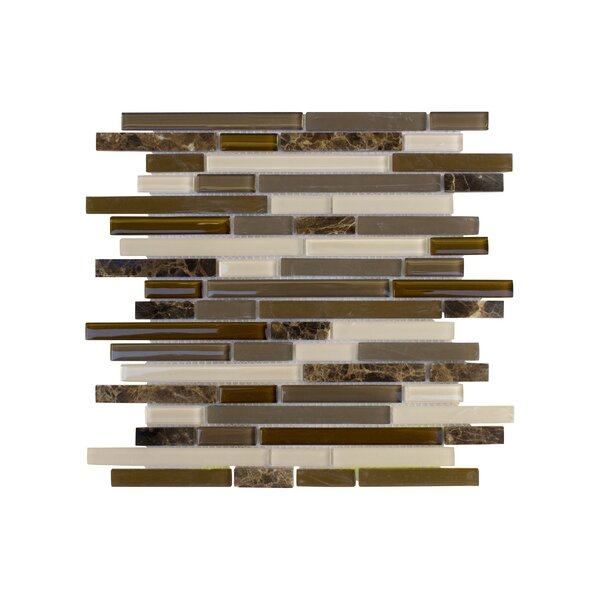 Upscale Designs Random Sized Glass and Natural Stone Mosaic Tile in Taupe and Dark Brown by Instant Mosaic