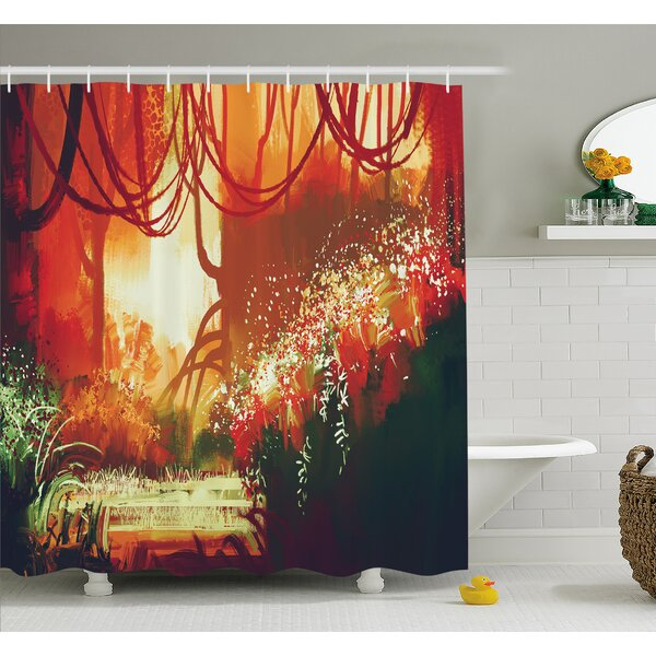 Modern Autumn Forest with Blur Special Effects in Vivid Tones Shower Curtain Set by East Urban Home