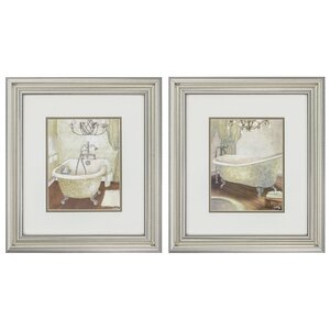 'Guest Bathroom' 2 Piece Framed Painting Print Set by Ophelia & Co.
