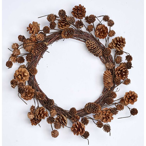 Mixed Pine Cone 19 Wreath by Millwood Pines