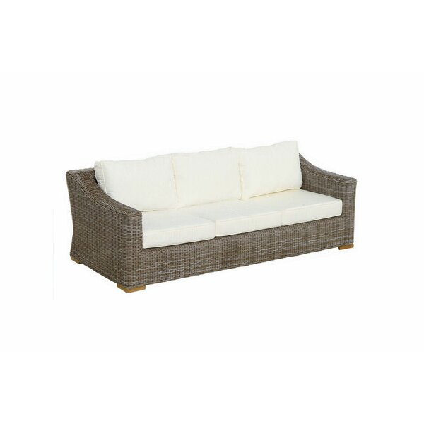 Brianna Deep Seating Sofa W/White Cushion by Rosecliff Heights