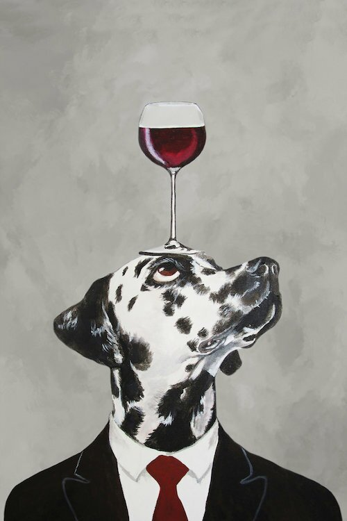 'Dalmatian with Wineglass' Painting Print on Canvas