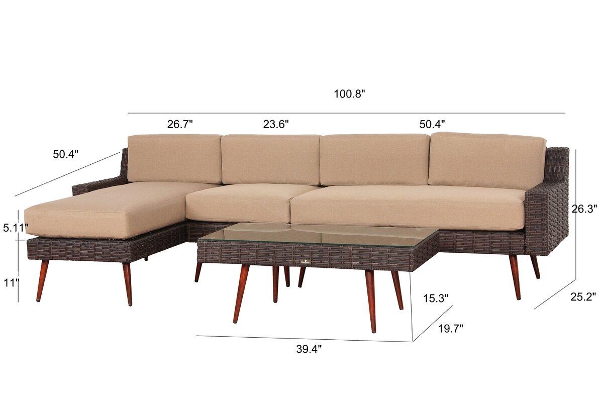 Beautiful Sienna Piece Rattan Sectional Set With Cushions With Sofa  Polyrattan