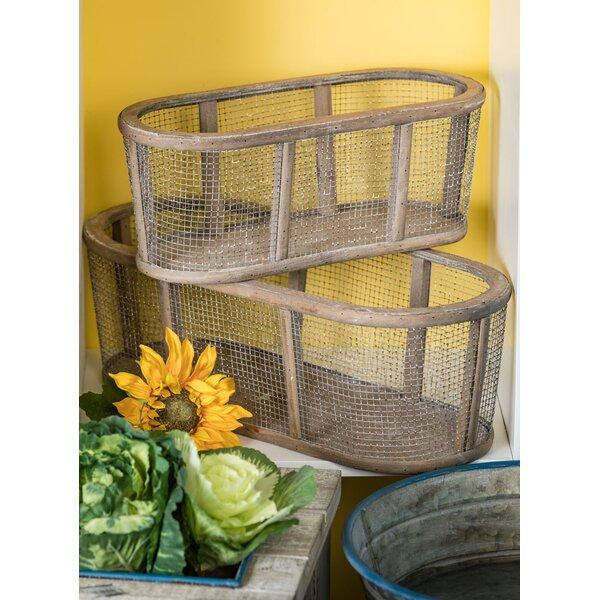 Loaiza Mesh Panel Oval Wood 2 Piece Planter Box Set by Gracie Oaks