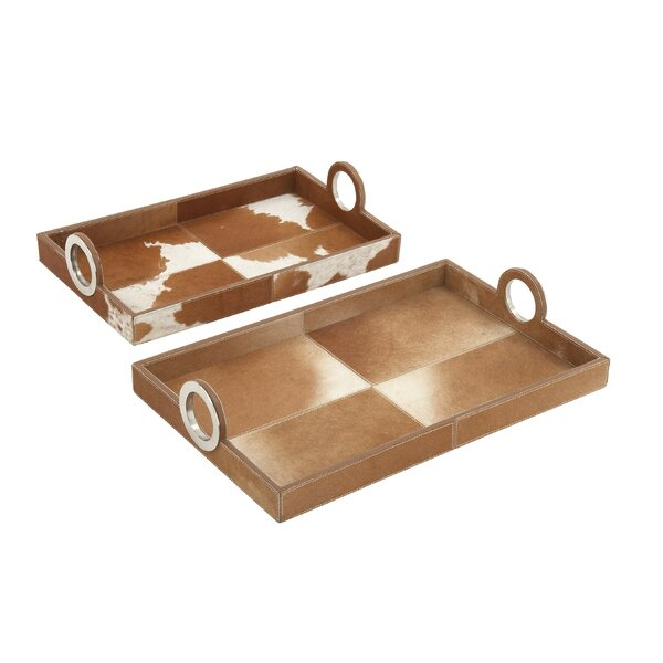 2 Piece Wood Hide Tray Set by Cole & Grey