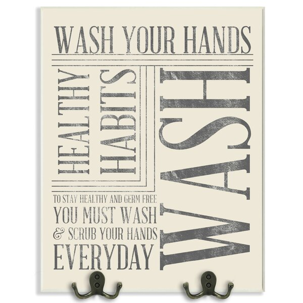 Wash Your Hands Textual Art Wall Plaque by Stupell Industries