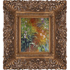 'Irises' by Claude Monet Framed Oil Painting Print on Canvas by Astoria Grand