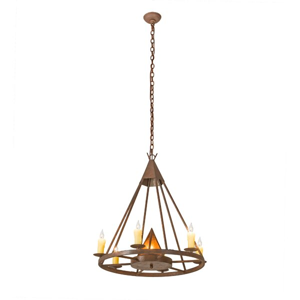 Hillhouse 7 - Light Candle Style Wagon Wheel Chandelier By Millwood Pines