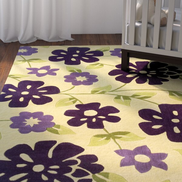 Ronnie Hand-Tufted Purple/Beige Area Rug by Zoomie Kids