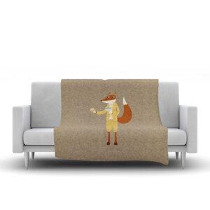 Nic Squirrell Mr Fox Takes Tea Animals Fleece Blanket