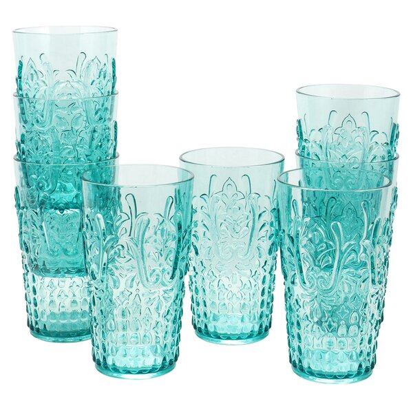 Keating 20.5 oz. Acrylic Hihgball Glass (Set of 8) by Bungalow Rose