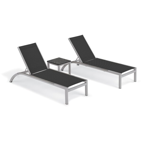 Saint-Pierre Reclining Chaise Lounge with End Table by Brayden Studio