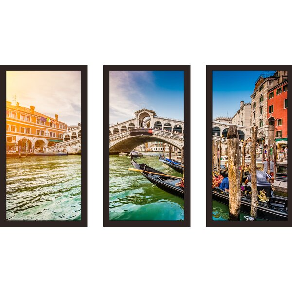 Rialto Bridge at sunset in Venice 3 Piece Framed Photographic Print Set by Picture Perfect International