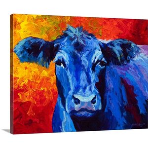 'Blue Cow' Painting Print on Wrapped Canvas by Laurel Foundry Modern Farmhouse