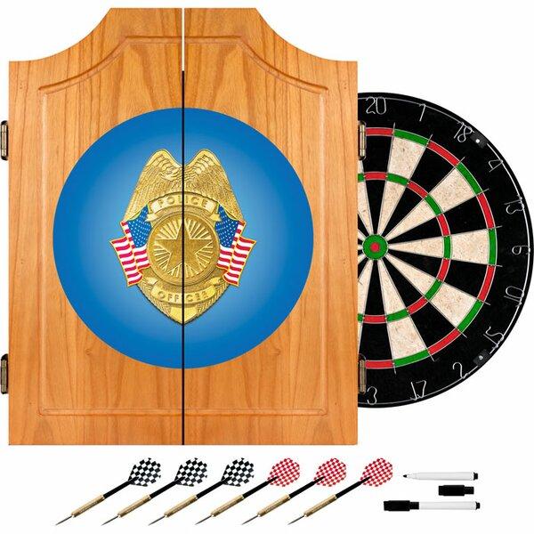 Police Officer Wood Dart Cabinet Set by Trademark Global