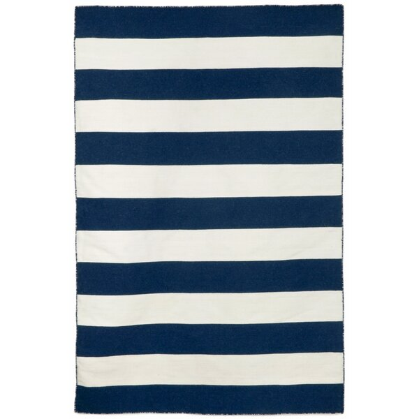 Ranier Stripe Hand-Woven Navy Indoor/Outdoor Area Rug by Beachcrest Home