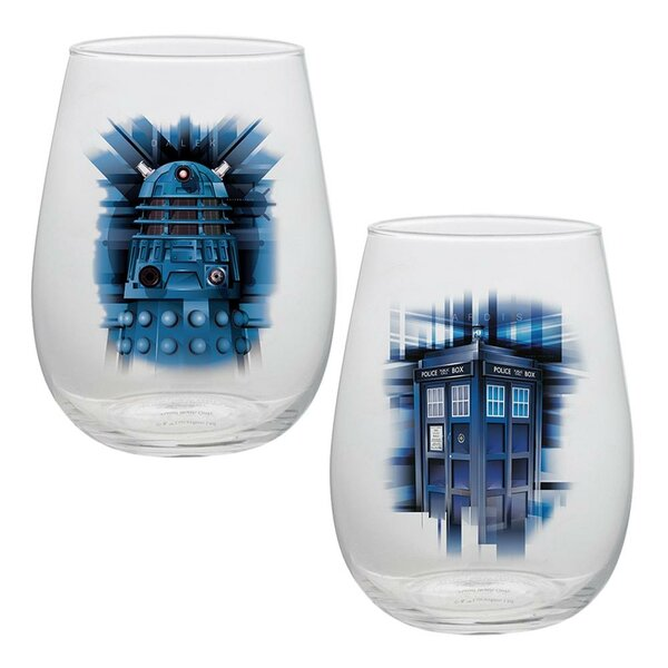 Doctor Who 2 Piece 18 oz. Glass Every Day Glass Set by Vandor LLC