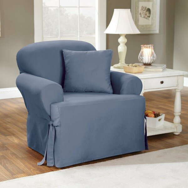 Cotton Duck T-Cushion Armchair Slipcover by Sure F