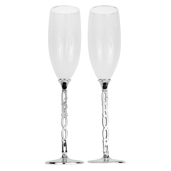 Marty Grooms Wedding Champagne Flute (Set of 2) by Mint Pantry