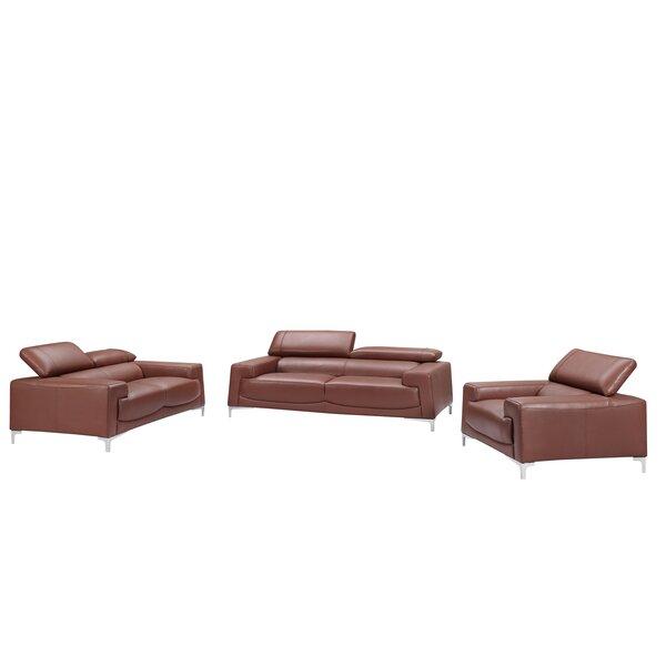 Tipton Modern Saddle 3 Piece Leather Living Room Set by Brayden Studio