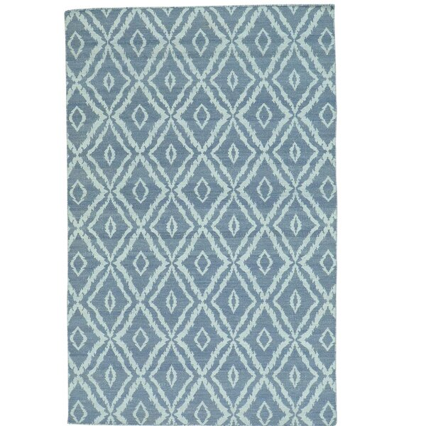 Reversible Kilim Flat Weave Hand-Knotted Blue Area Rug by Ivy Bronx