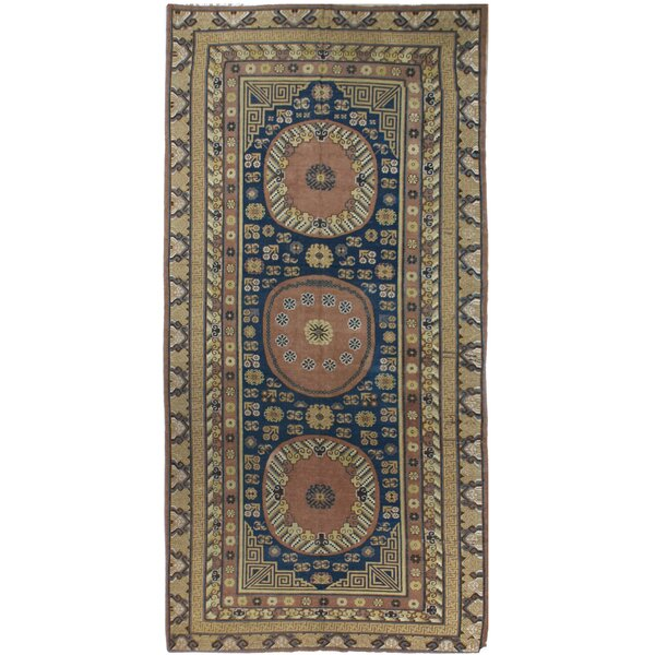 One-of-a-Kind Hand-Knotted 1930s Brown/Blue 6'8 x 13'5 Wool Area Rug