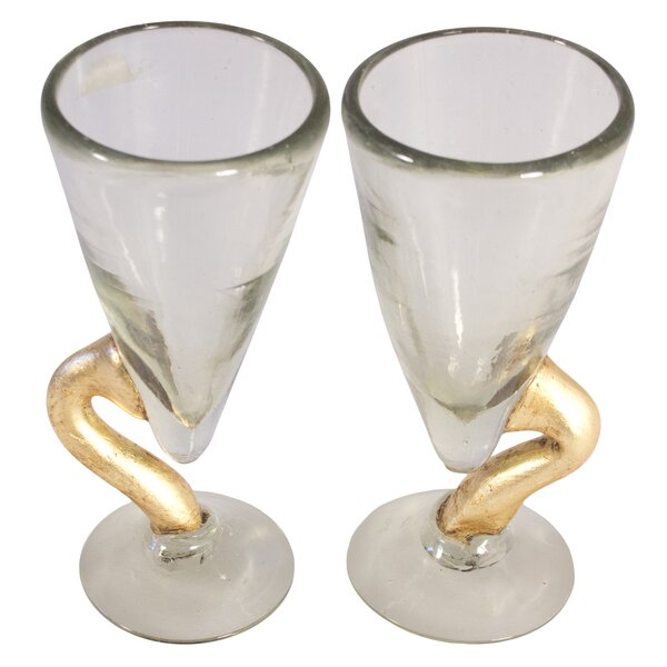 Golden Snake Blown Water Glass (Set of 2) by Novica