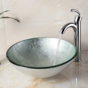 Buy clear Hand Painted Glass Circular Vessel Bathroom Sink By Elite