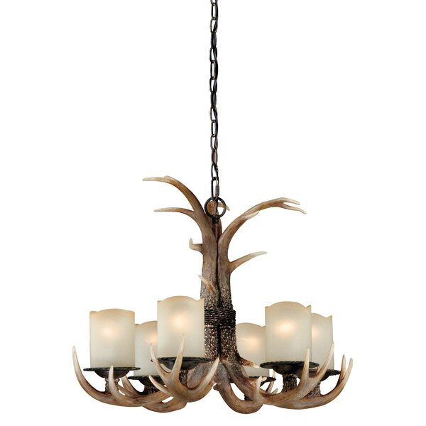 Port Chester 6 - Light Shaded Classic / Traditional Chandelier With Antler Accents By Loon Peak