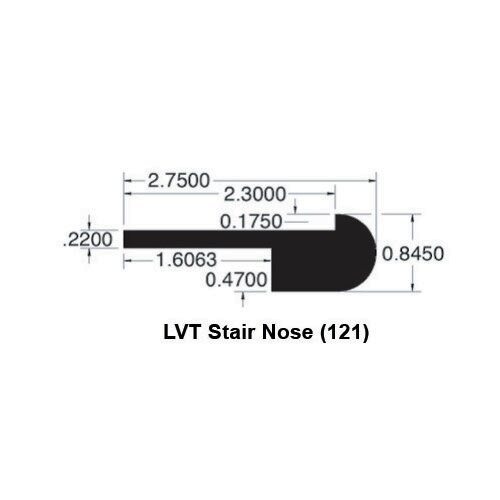 0.52 x 3.38 x 78 Walnut LVT Stair Nose by Moldings Online