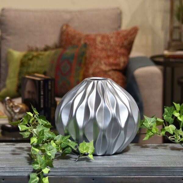 Ceramic Round Low Table Vase by Urban Trends