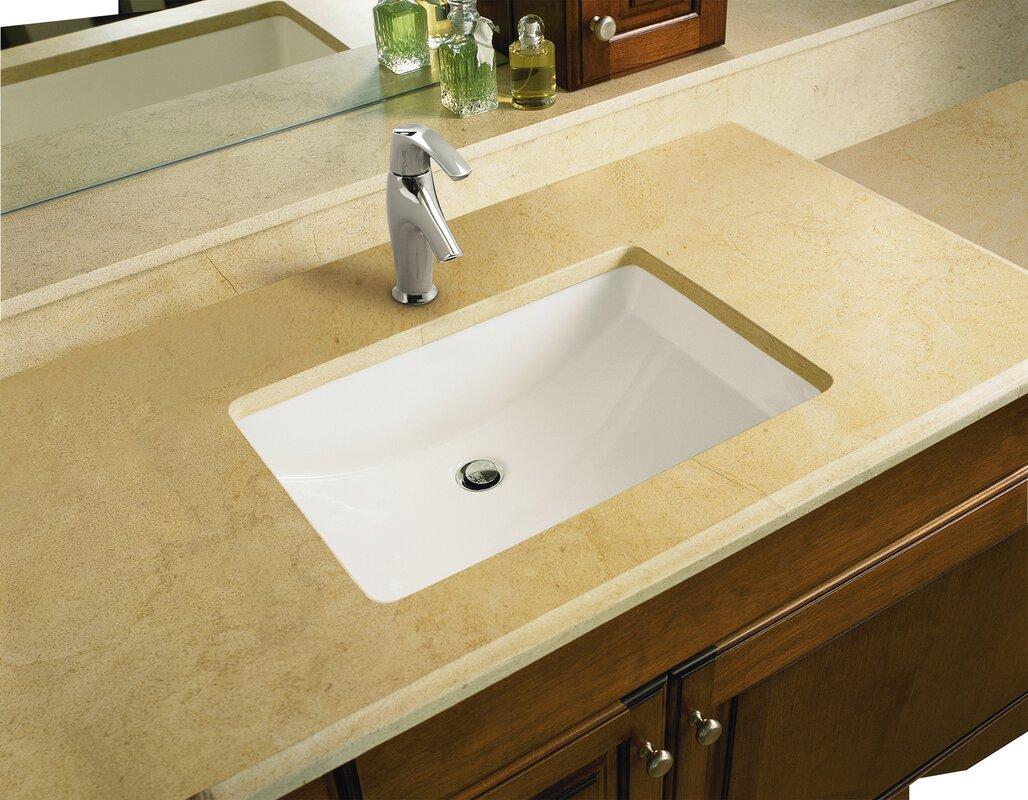 bathroom sinks. Ladena Ceramic Rectangular Undermount Bathroom Sink With Overflow K 2215 0 33 47 Kohler