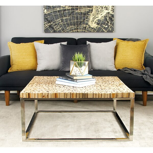 Stainless Steel and Teak Coffee Table by Cole & Grey