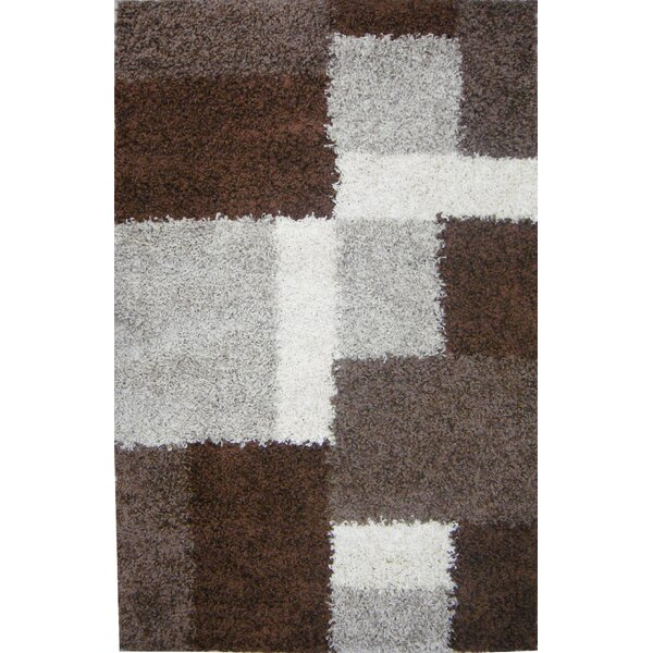 Madison Shag Beige & Brown Cubes Area Rug by Well Woven